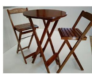 Conjunto Mesa 70 x 70 com 4 Cadeiras Dobráveis