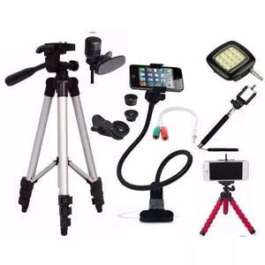 Kit Youtuber Pau De Selfie Microfone Lapela Tripé 1,80m