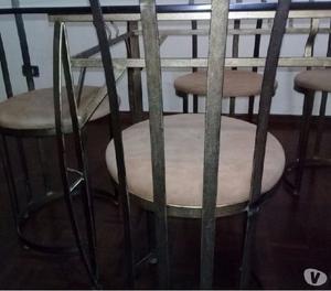 Mesa de jantar de metal com tampo em vidro 6 cadeiras