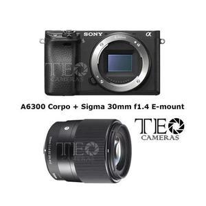 Camera Sony A6300 Corpo + Sigma 30mm F1.4 E-mount C/ Recibo