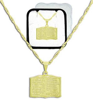 Gargantilha e pingente folheados a ouro salmo 23
