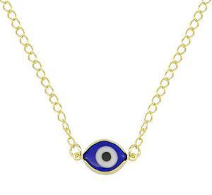 Gargantilha folheada a ouro com olho grego