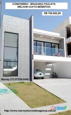 Vendo Casa Nova, Condomínio, Bragança Paulista, Preço