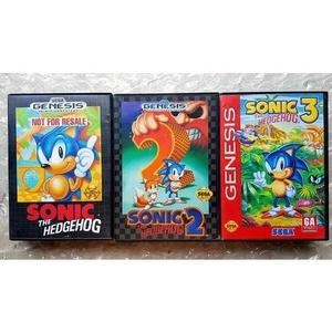 Lote Sonic 1 2 3 Original Sega Genesis