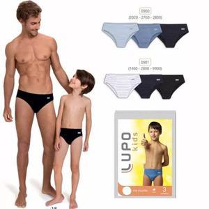 Kit C/12 Cuecas Infantil Slip Lupo 140 Original Criança