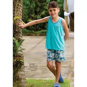 Pijama Infantil Criança Menino Camiseta Regata Masculino