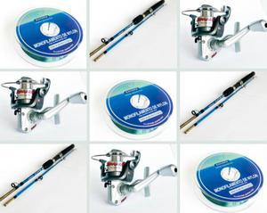 Kit De Pesca 3 Molinetes Jimmy + 3 Linhas + 3 Varas