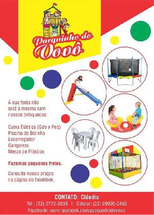 Aluguel de brinquedos e jogo de mesas para festas