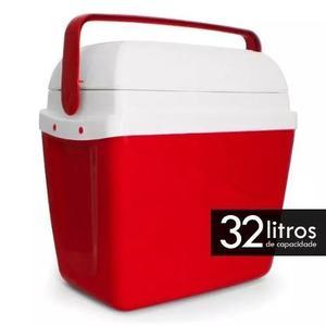 Cooler Termico Caixa Térmica Cooler Vermelha 32 Litros