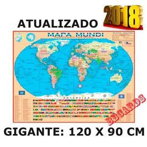Mapa Mundi 2018 Planisfério Político Escolar 120 X 90 Cm