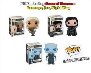 3 Funko Pop Rocks Game of Thrones - Daenerys, Jon, Night