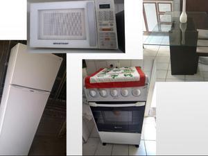 Kit Cozinha - Geladeira + Fogão + Microondas + Mesa