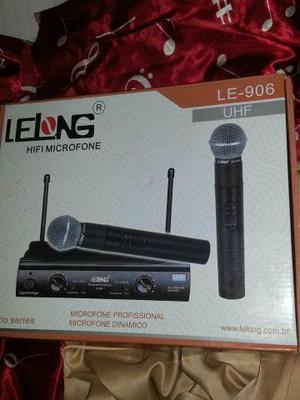 Microfone Profissional Sem Fio Duplo Lelong