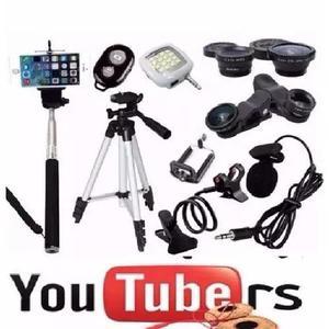 Kit Youtuber Bastão De Selfie Microfone Lapela Tripé