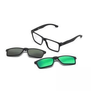 Armação oculos grau com 2 clip on mc3217 c1 preto   Posot Class cc79ef128a