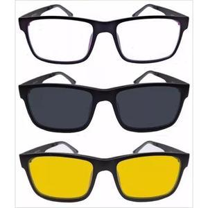 a2cafac9a5732 Armação preta óculos de grau grande + 1 clip on lentes