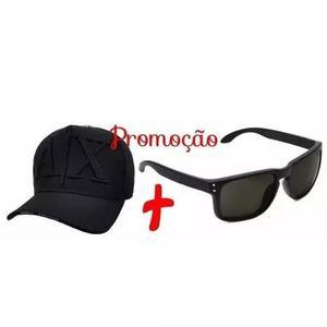 fc35ae7d3681a Kit masculino óculos de sol preto quadrado + bone aba curva