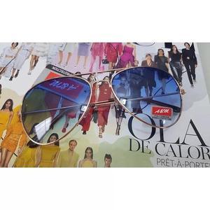Oculos De Sol Modelo Aviador Azul Degrade C/ Dourado Unissex