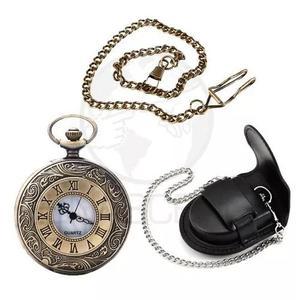 Relógio De Bolso Roman + Corrente Com Clip + Capa De Couro