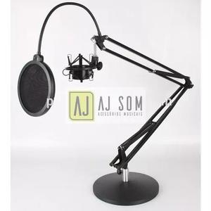 Suporte,pedestal De Mesa P/mic+shockmount+pop-70 Cm