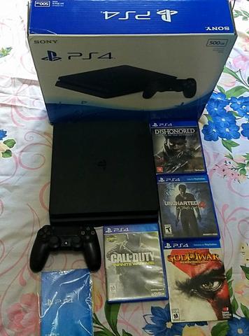 PS4 SLIM 500GB COM JOGOS,na caixa