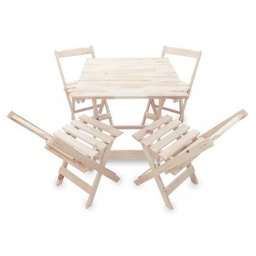 Jogo De Mesa 70x70 C/4 Cadeiras Madeira Bar Restaurante