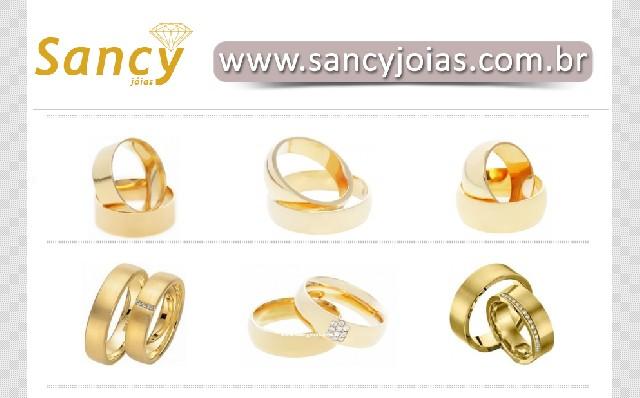 Sancy jóias - alianças em ouro 18k