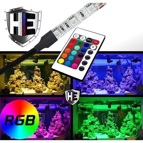 Luminária Para Aquário Fita Led Rgb 30cm 5050 Controle Top