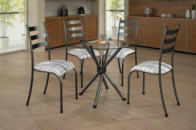 Pague em casa -Mesa de vidro com 4 cadeiras * pronta entrega