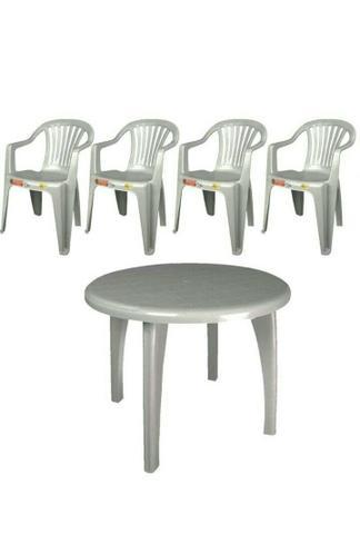 Mesa Redonda c/ 4 Cadeiras + guarda sol