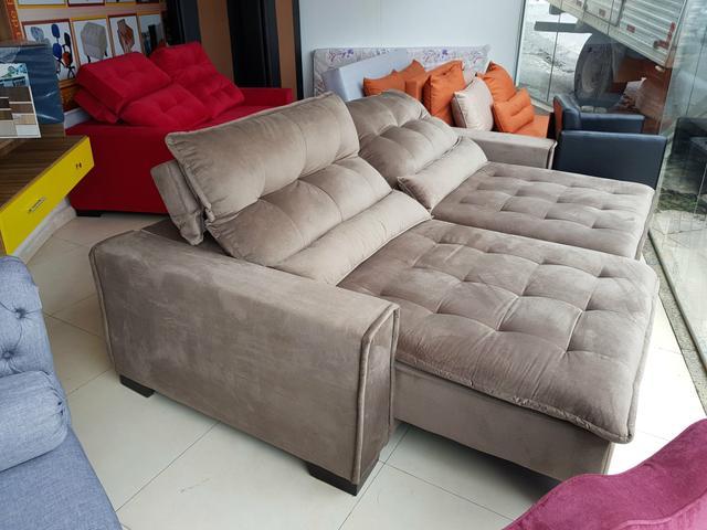 Sofá retrátil e reclinável linha alta com pillow top