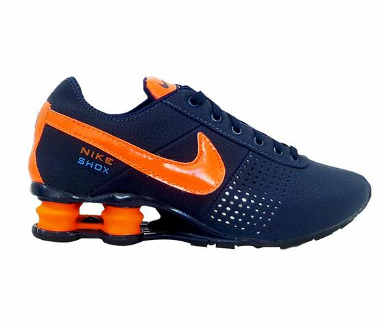 Tênis Nike Shox Deliver Azul Marinho e Laranja