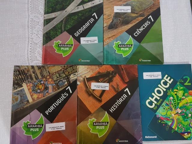 Kit 5 livros 7º Ano Araribá plus -Ciências, Geografia,