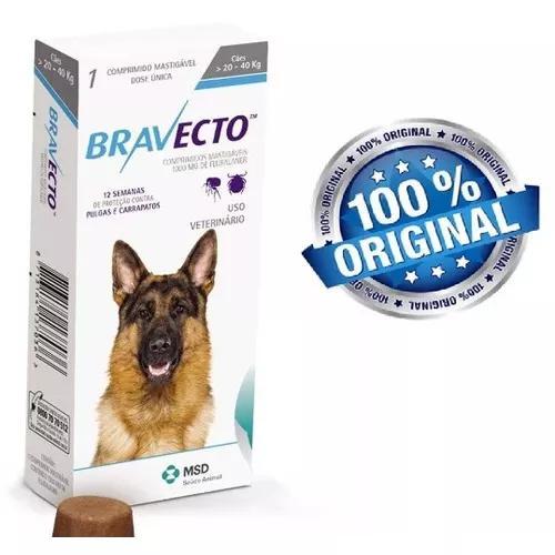 Bravecto Anti Pulgas E Carrapatos P Cães De 20kg A 40kg