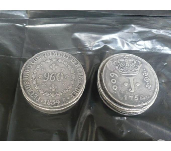 LOTE COM 18 MOEDAS ANTIGAS DE PRATA DE 1695 A 1.832 R$900