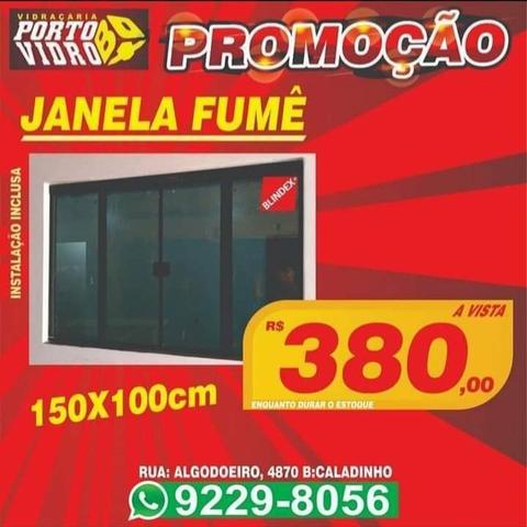Promoção janela 150x100 fumê instalada a pronta entrega