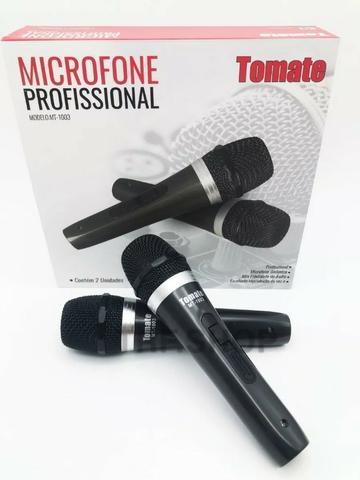 Kit Microfone Profissional Com Fio Duplo Tomate Mt-