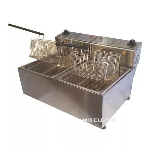 Fritadeira Elétrica Profissional Aço Inox 10l 2x 5l Edanca