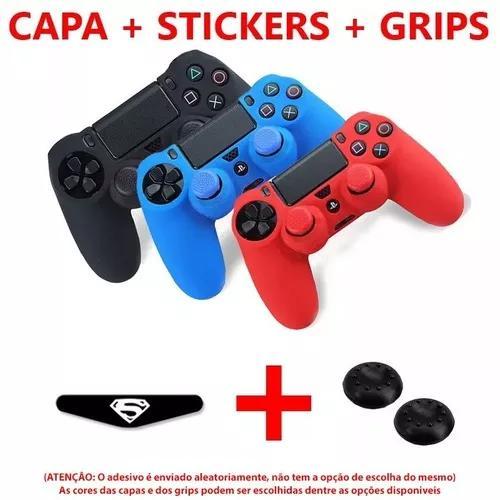 Kit Ps4 Capa Protetora + Grip + Adesivo Stickers Ps4