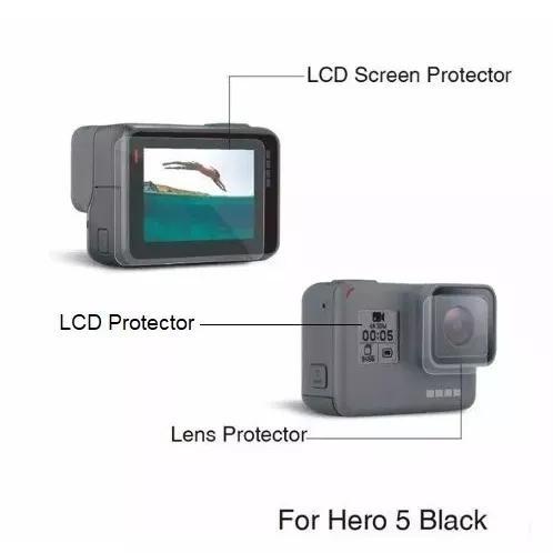 Película Proteção Lente E Tela Lcd Gopro Hero 5 Black