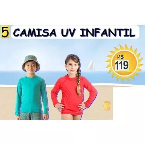 Atacado 5 Cinco Camisa Infantil Criança Proteção Uv Solar