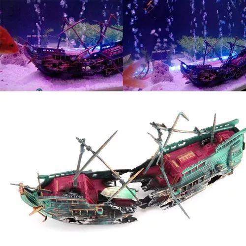 Enfeite De Aquário Barco Naufrago, Muito Legal