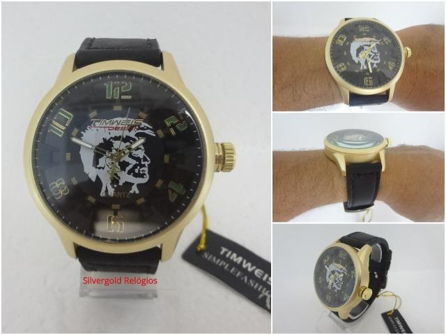 Relógio Timweis Mod 03, Dourado com Pulseira de Couro