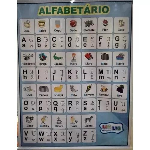 Painel De Lona Alfabeto Ilustrado 4 Formas - 1,05 X 0,90 Cm