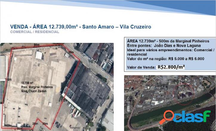 Área com 12.739,00m² à venda em Santo Amaro, por