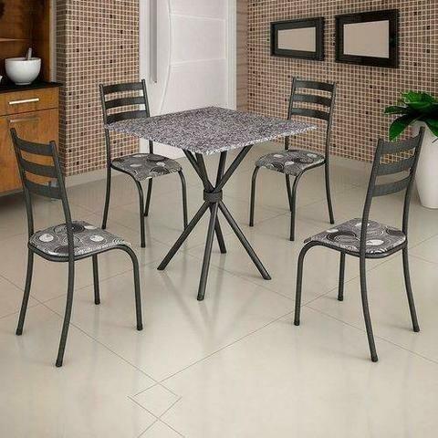 Mesa 4 cadeiras granitada 70x70