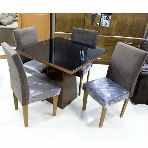 Mesa de Jantar com Tampo de vidro e 4 Cadeiras Luna- Faça