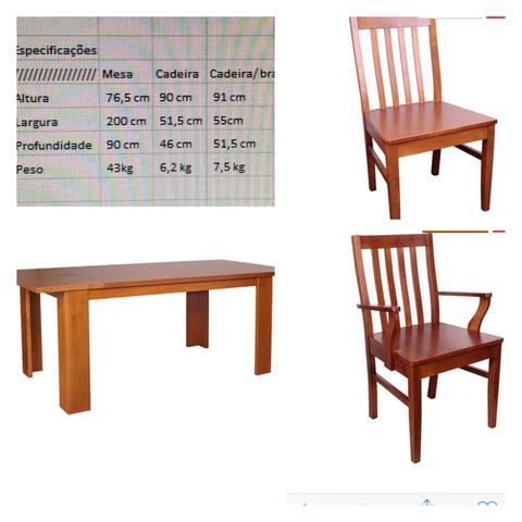 Mesa de jantar extensível de madeira com 6 cadeiras