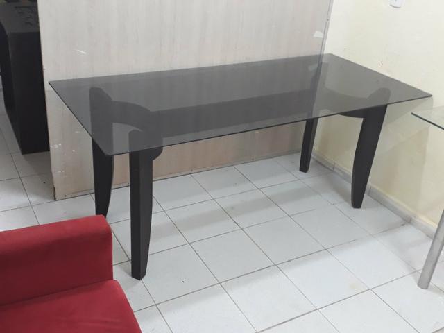 Mesa madeira de lei c/tampo vidro