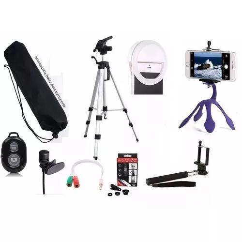 Kit Youtuber Celular + Microfone + Tripé 102cm Selfie